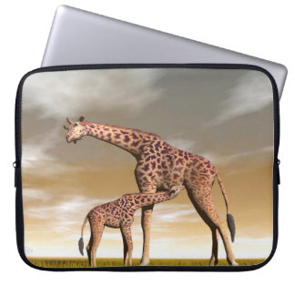 Mum and baby giraffe - 3D render Computer Sleeve