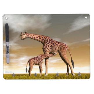Mum and baby giraffe - 3D render Dry Erase Board With Keychain Holder