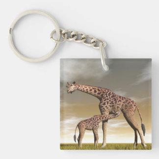 Mum and baby giraffe - 3D render Keychain