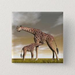 Mum and baby giraffe - 3D render Pinback Button