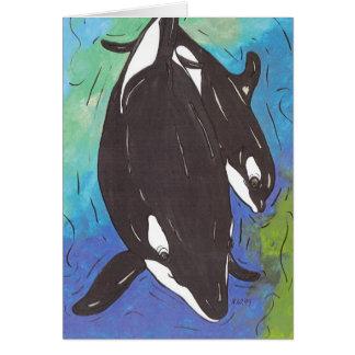 Mum and Bub Orcas Card