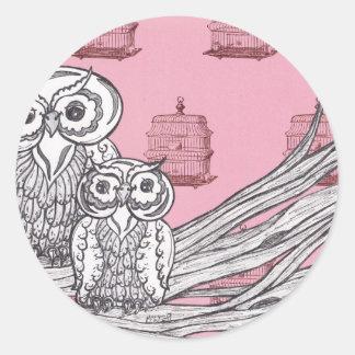 Mum and Bub Owls 4 Classic Round Sticker