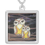 Mum and Bub Owls Silver Plated Necklace