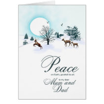 Mum and dad, Christmas scene with reindeer Card