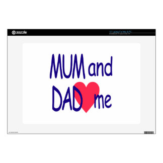 """Mum and dad me, mom decals for 15"""" laptops"""
