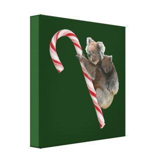 Mum and Joey Koala Candy Cane Christmas Canvas Print