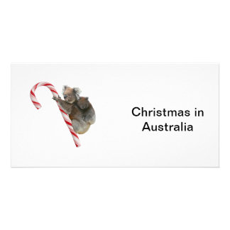 Mum and Joey Koala Candy Cane Christmas Card