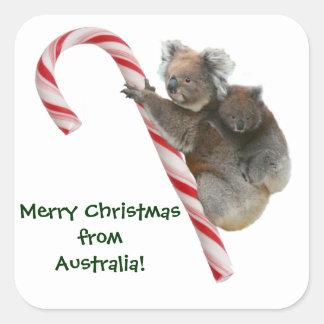 Mum and Joey Koala Candy Cane Christmas Stickers