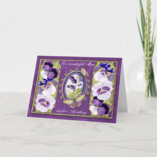 Mum Birthday Card With Butterflies And Pansies