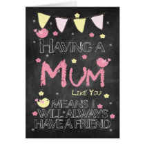 Mum Birthday Chalkboard With Little Birds Flowers Card