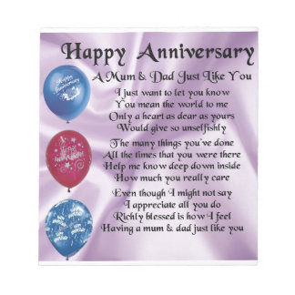 Mum & Dad  -  Happy Anniversary  -  Lilac Notepad