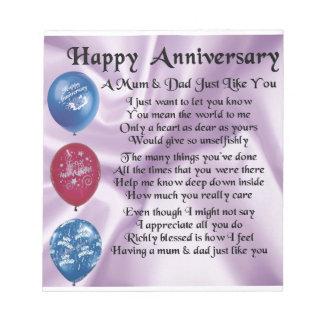 Mum Dad Hy Anniversary Lilac Notepad