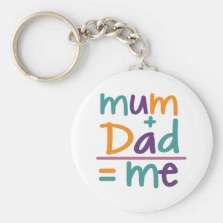 Mum + Dad = Me Basic Round Button Keychain