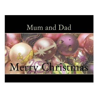 Mum & Dad Merry Christmas card Postcard