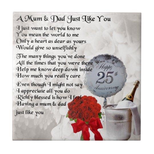 mum dad poem 25th wedding anniversary ceramic tile zazzle com