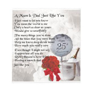 Mum & Dad Poem -  25th Wedding Anniversary Notepad