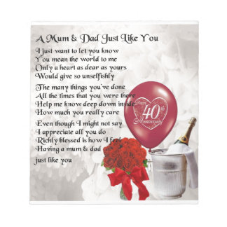 Mum & Dad Poem - 40th Wedding Anniversary Notepad