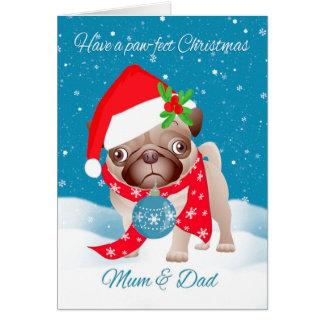 Mum & Dad, Pug Dog With Cute Santa Hat And Ornamen Card