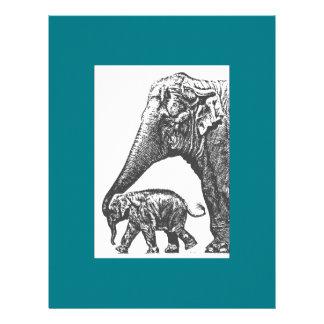 mum elephant and baby letterhead