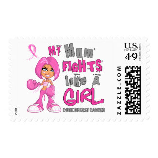 Mum Fights Like Girl Breast Cancer 42 9 png Postage Stamps