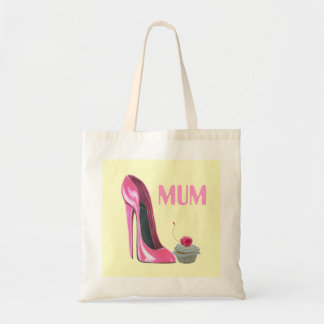 Mum Gift Bag with pink stiletto shoe and cupcake