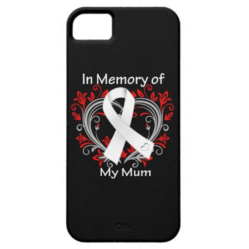 Mum - In Memory Lung Cancer Heart iPhone 5 Cover