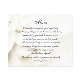 Mum / Mom poem Canvas Print