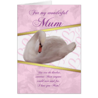 Mum Mother's Day Card With Swan - Pink