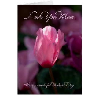 Mum Mother's Day Greeting Card With Delicate Pink