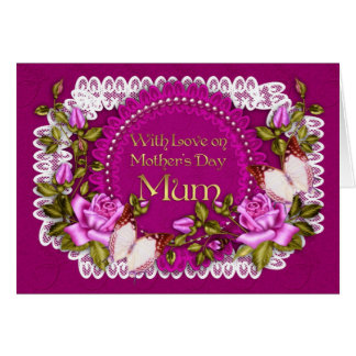 Mum, Mother's Day Greeting Card With Lace Effect
