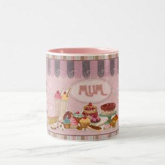 Mum Mug, Sweets, Cakes, Ice Cream, Puddings Two-Tone Coffee Mug
