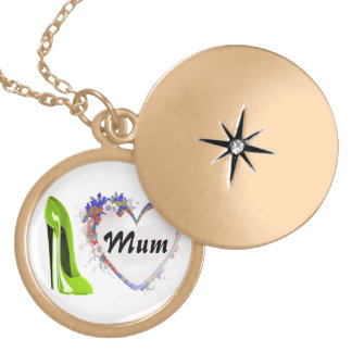Mum Necklace with Lime green stiletto shoe and flo