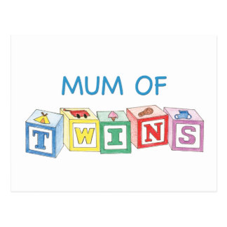 Mum of Twins Blocks Postcard