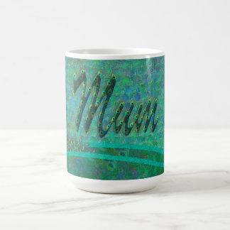 Mum peacock feathers ornate text design mugs