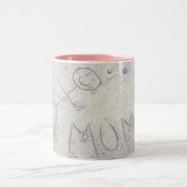 Beach Themed Mum stick figure. Drawing in the sand. Two-Tone Coffee Mug