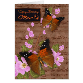 Mum, with Flipper Butterfly On Pink Apple Blossom Card
