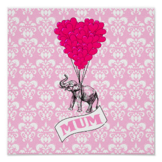 Mum with pink elephant posters