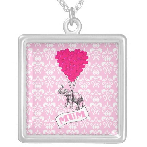 Mum with pink elephant square pendant necklace