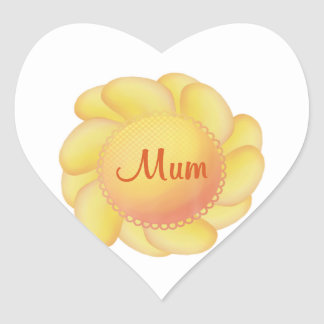 Mum (yellow flower) heart sticker