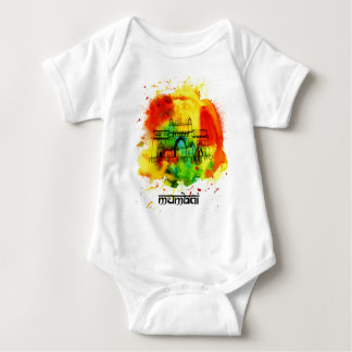 mumbai gateway of india bright watercolors baby bodysuit