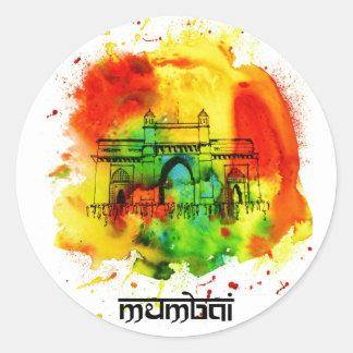 mumbai gateway of india bright watercolors classic round sticker