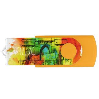 mumbai gateway of india bright watercolors flash drive