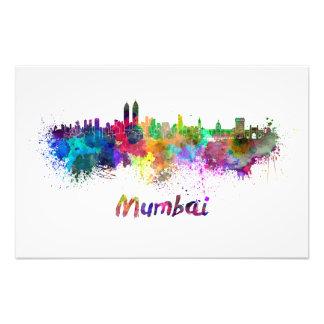 Mumbai skyline in watercolor photo art