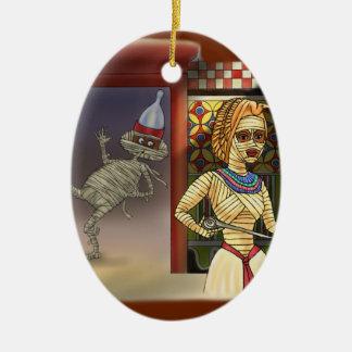 Mummific and Mrs Ceramic Ornament