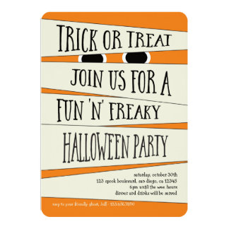 Mummified Halloween in Pumpkin Party Invitation