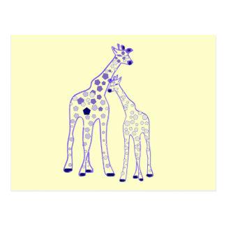 mummy and baby giraffe postcards