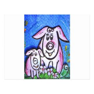 Mummy and baby pig -pixi-art.com postcard