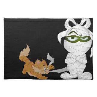 Mummy and Cat Halloween Decor Place Mats