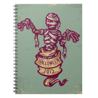 Mummy and old ribbon for Halloween Spiral Notebook