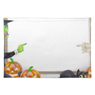 Mummy and Witch Halloween Sign Place Mats